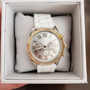 Accutime White & Gold Women's Watch